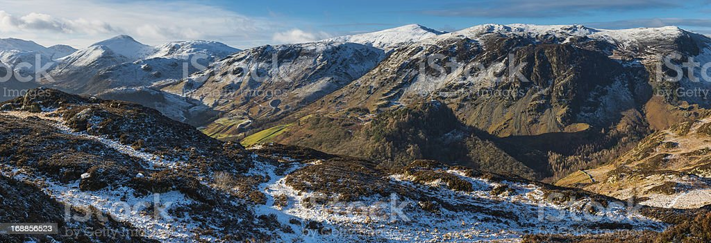 Lake District idyllic winter mountain fells panorama Cumbria UK stock photo