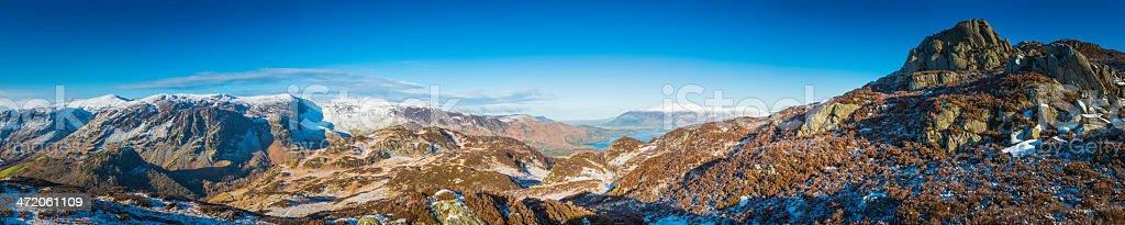 Lake District idyllic winter mountain panorama snowy fells Cumbria UK stock photo
