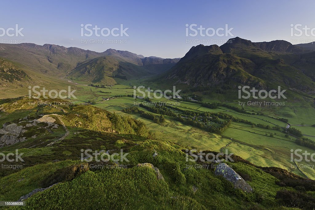 Lake District mountain valley sunrise Langdale Cumbria stock photo