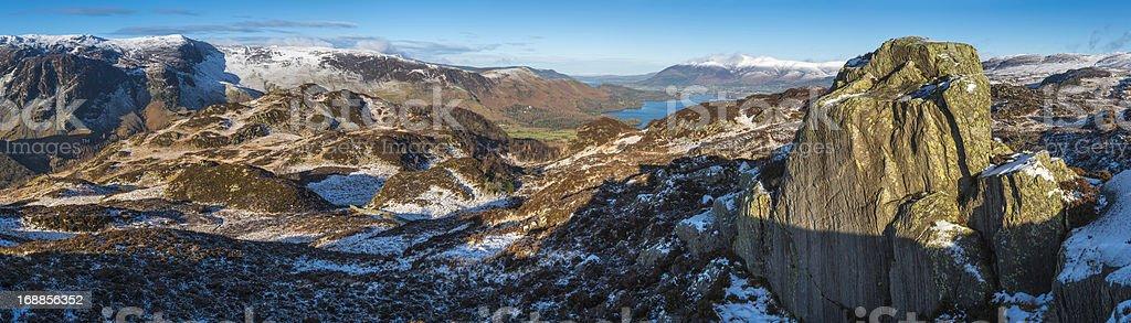 Lake District National Park idyllic winter landscape panorama Cumbria UK stock photo