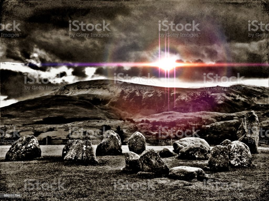 Lake District- Out of Space & Time - Castlerigg Stone Circle - Inside The Sanctuary stock photo