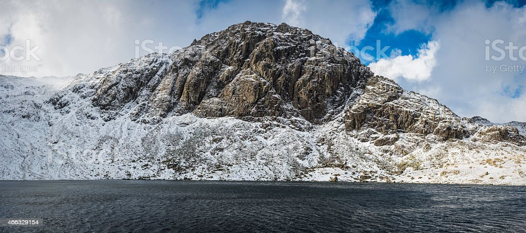 Lake District Pavey Ark Stickle Tarn Langdale Pikes panorama Cumbria stock photo