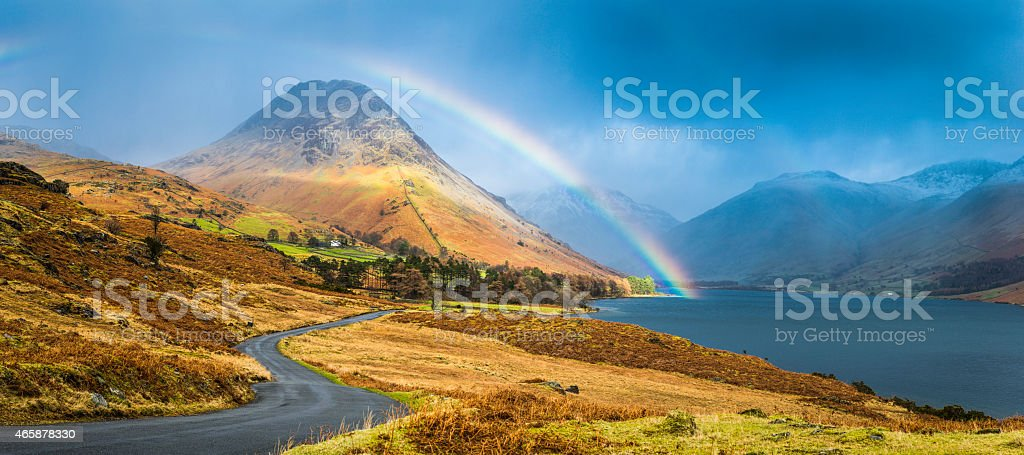 Lake District rainbow over Wast Water Western Fells panorama Cumbria stock photo