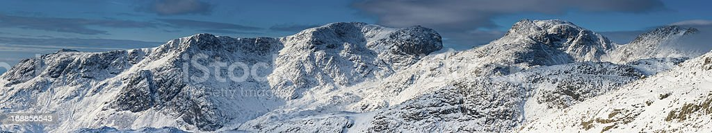 Lake District Scafell Pike winter mountain peaks super panorama stock photo
