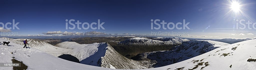 Lake District snow summit sunburst winter landscape panorama Helvellyn UK royalty-free stock photo