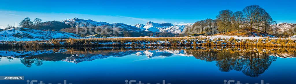 Lake District snowy Langdale mountains reflecting in Elter Water Cumbria stock photo