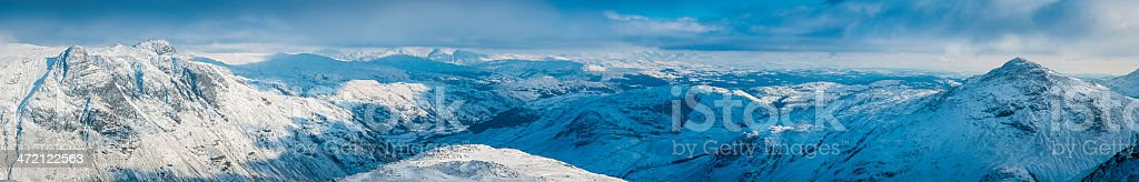 Lake District snowy mountain fells in winter panorama Cumbria UK stock photo