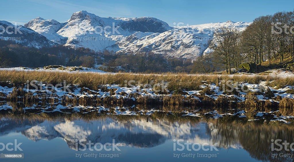 Lake District snowy mountain peaks reflecting in tarn Cumbria royalty-free stock photo