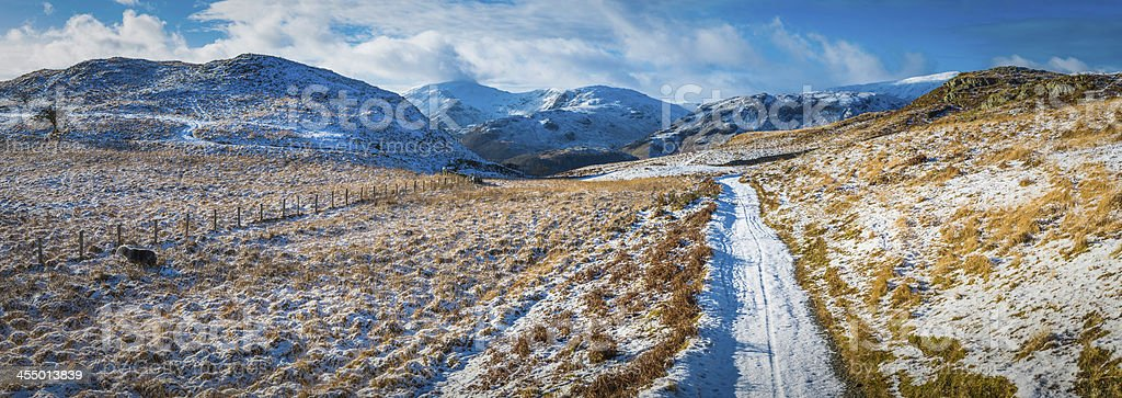 Lake District snowy trail sheep mountain fells winter panorama UK stock photo