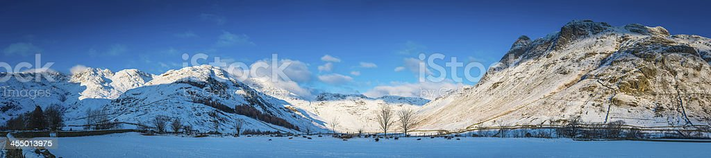 Lake District snowy winter in Mickleden Langdale Pikes panorama Cumbria stock photo