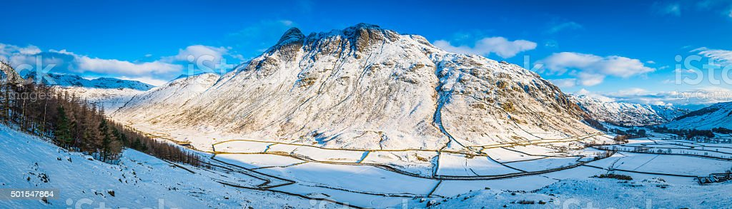 Lake District sunlight on Langdale Pikes snowy winter mountain panorama stock photo