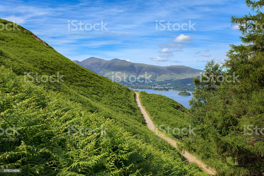 Lake District view from Catbells towards Keswick stock photo
