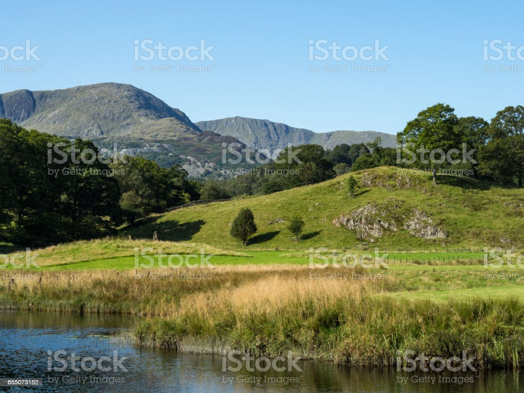 Lake District view near elterwater cumbria stock photo