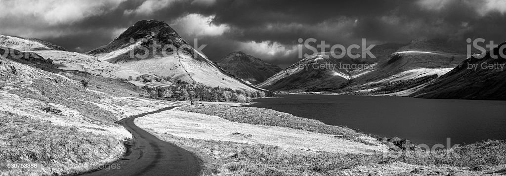 Lake District Wast Water Great Gable dramatic monochrome landscape panorama stock photo