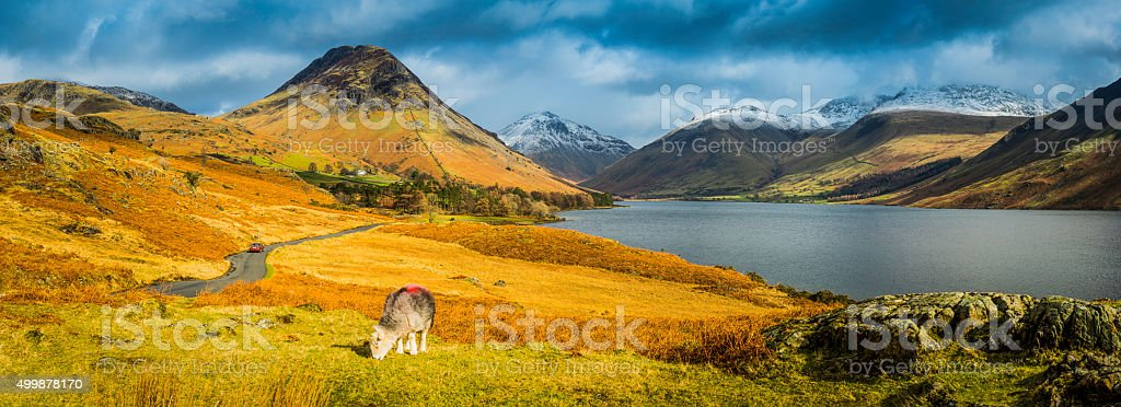 Lake District Wast Water Yewbarrow Great Gable mountain fells panorama stock photo