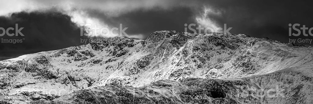 Lake District Western Fells snowy mountain summits dramatic winter panorama stock photo
