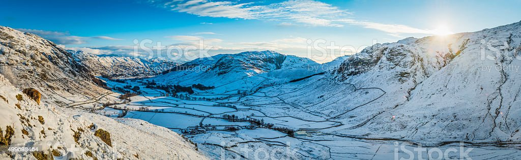 Lake District winter fells mountain sunrise panorama Langdale Valley Cumbria stock photo