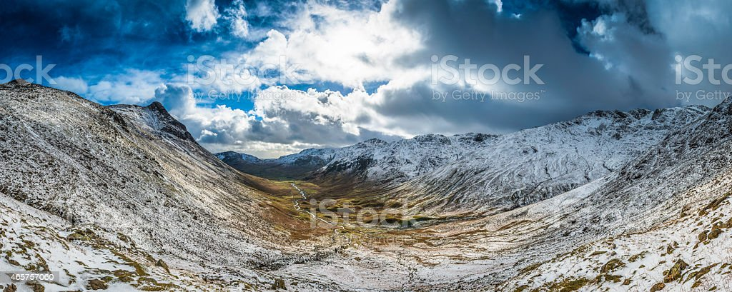 Lake District winter skies over Langdale Fells snowy mountains Cumbria stock photo