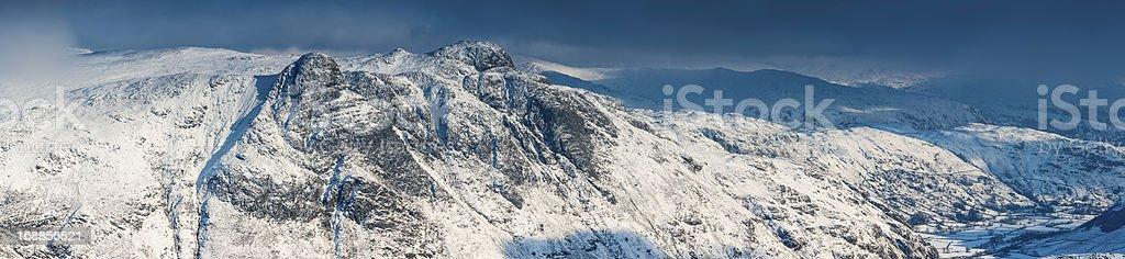 Lake District winter snow on Langdale Cumbria panorama UK stock photo