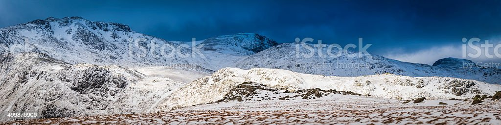 Lake District winter sunlight snow stormclouds Esk Hause Cumbrian Fells stock photo