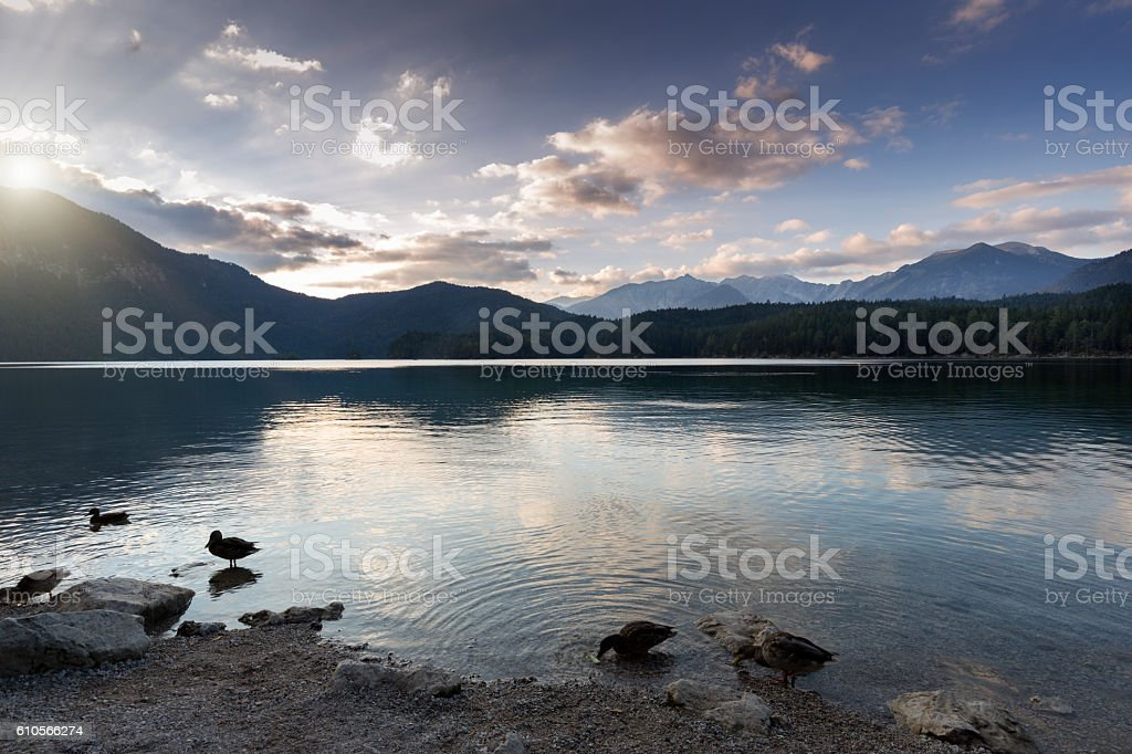 Lake Eibsee in Bavaria, Germany stock photo