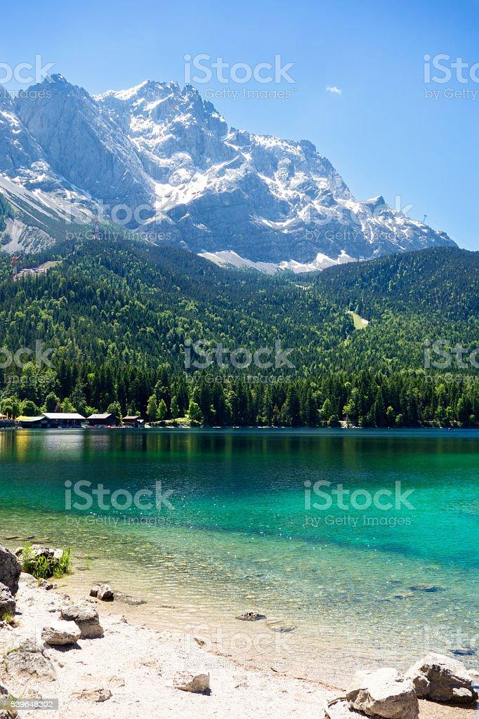 Lake Eibsee with Mountain Zugspitze near Garmisch-Partenkirchen, Germany stock photo
