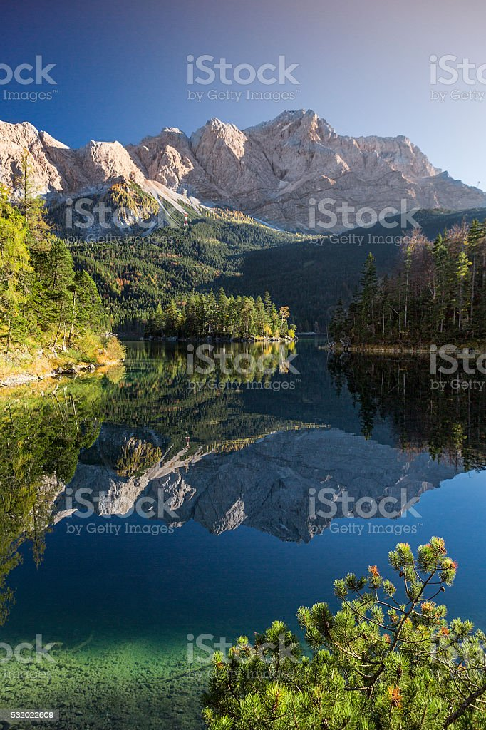 Lake Eibsee with Zugspitze in Bavaria stock photo