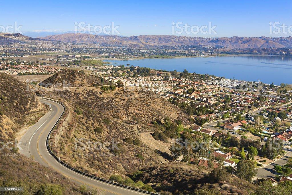 Lake Elsinore and Ortega Highway Route 74, California stock photo