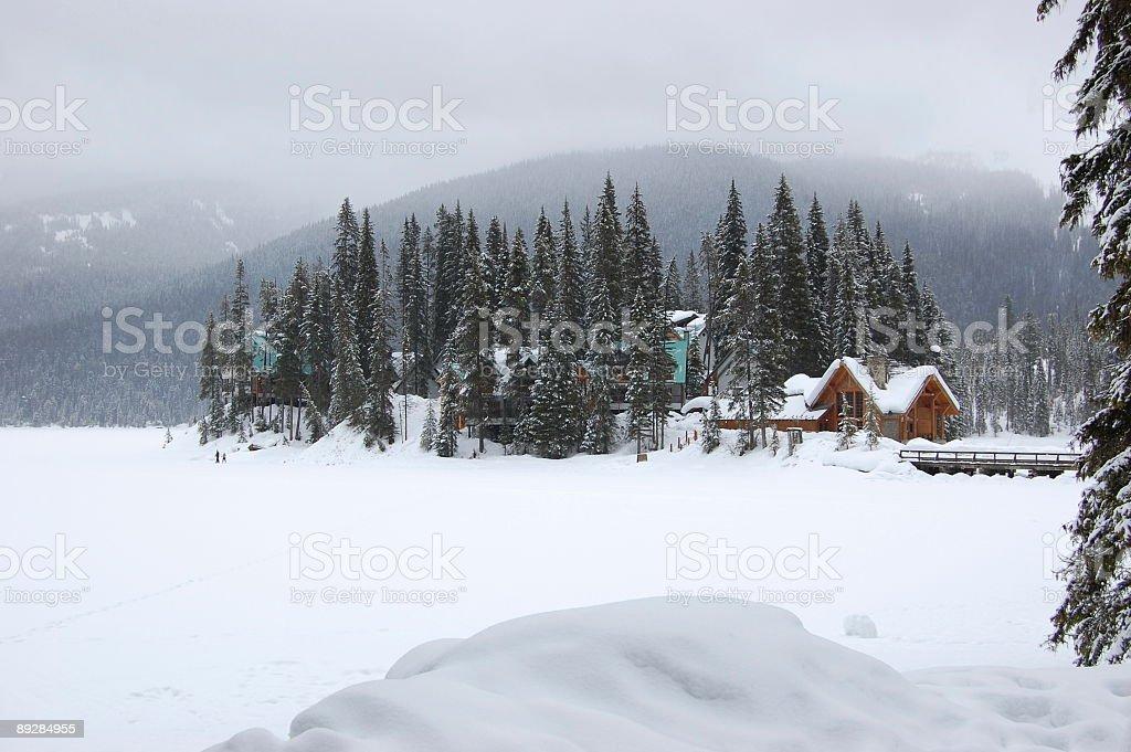 Lake Emerald in winter stock photo