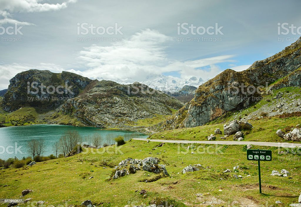 Lake Enol stock photo
