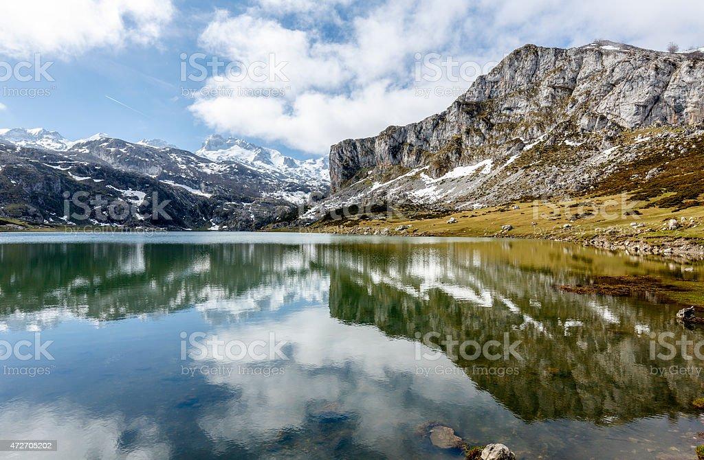 lake Ercina Covadfonga, Spain stock photo