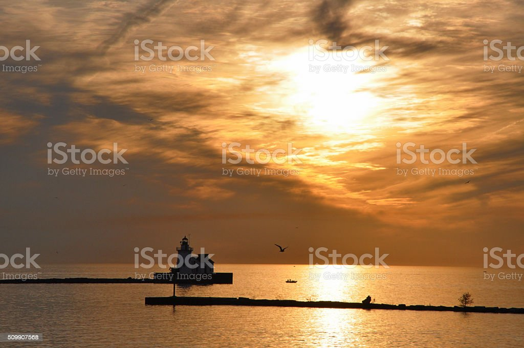 Lake Erie sunset in Cleveland, Oh stock photo