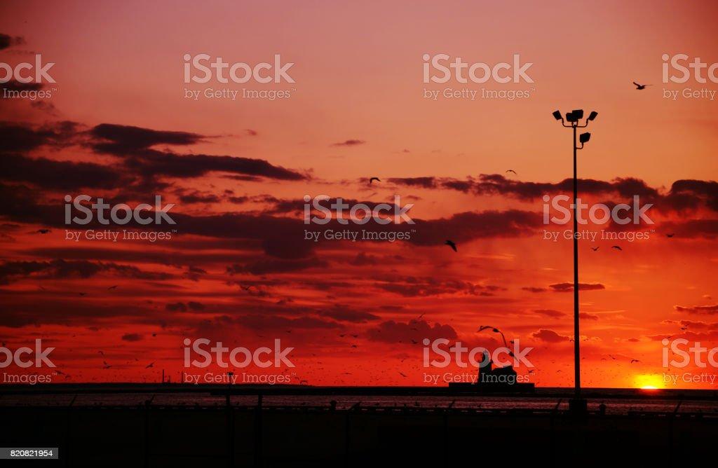 Lake Erie Sunset in Cleveland Ohio stock photo