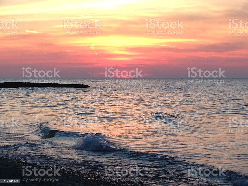 Lake Erie Sunset stock photo