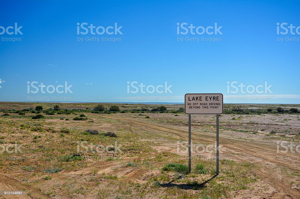 Lake Eyre sign in the outback of Australia stock photo