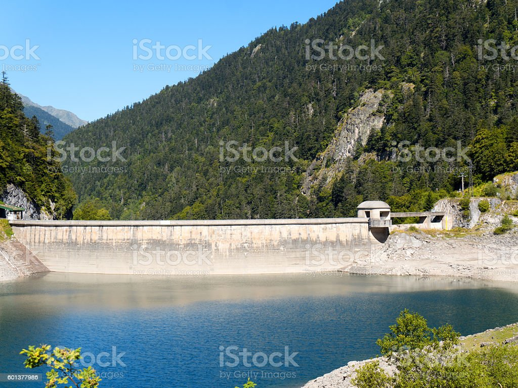 Lake Fabreges in the Atlantic Pyrenees in France stock photo