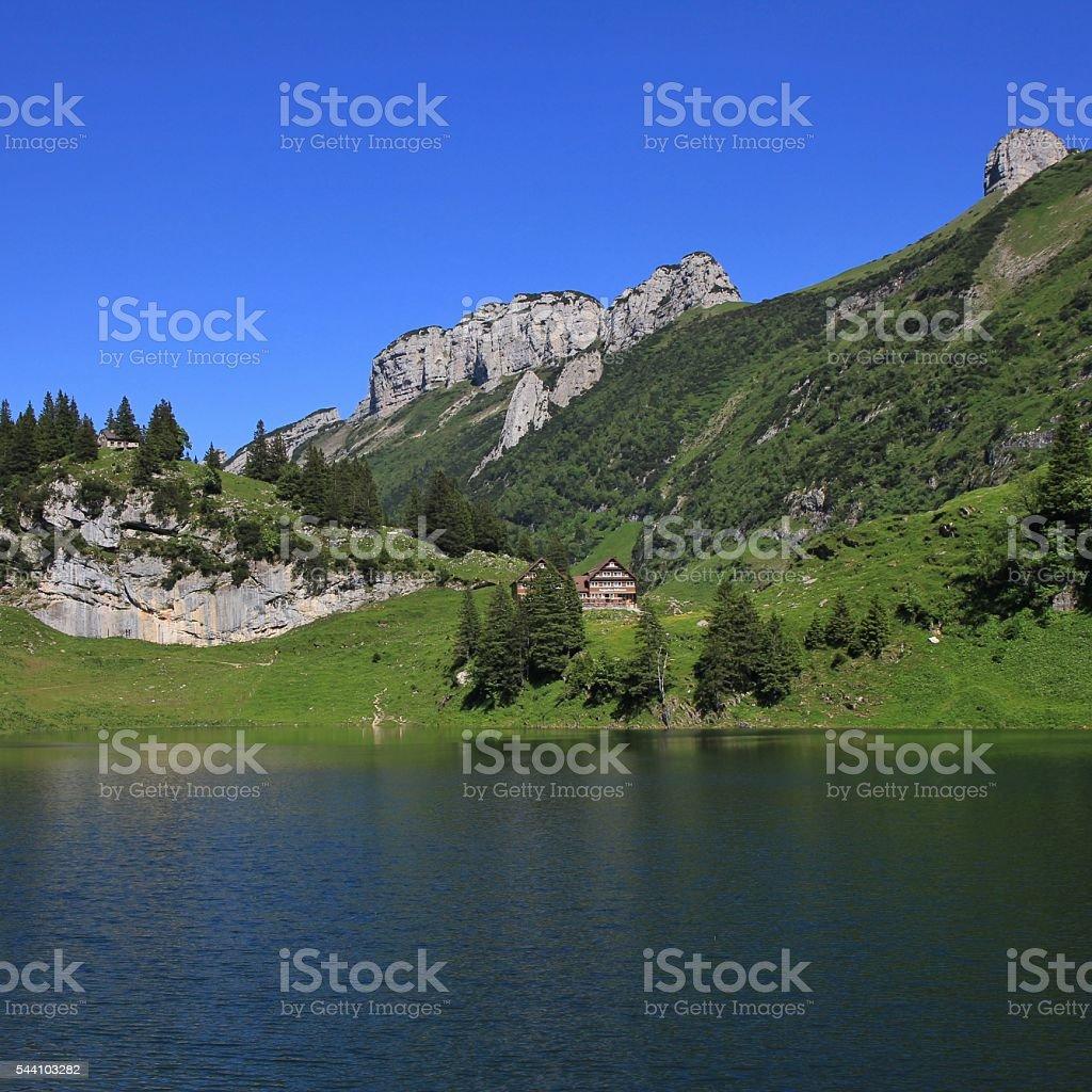Lake Fahlensee and mountains of the Alpstein Range stock photo