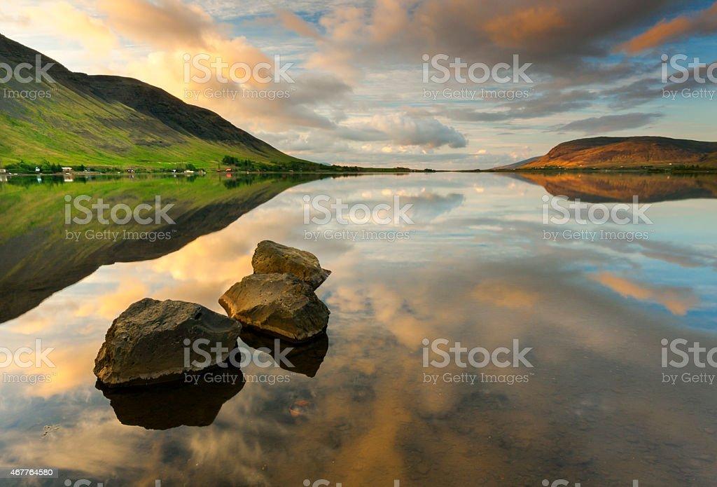 Lake Fjord Sunrise-Sunset Reflections stock photo