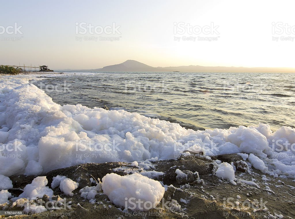 Lake foam stock photo