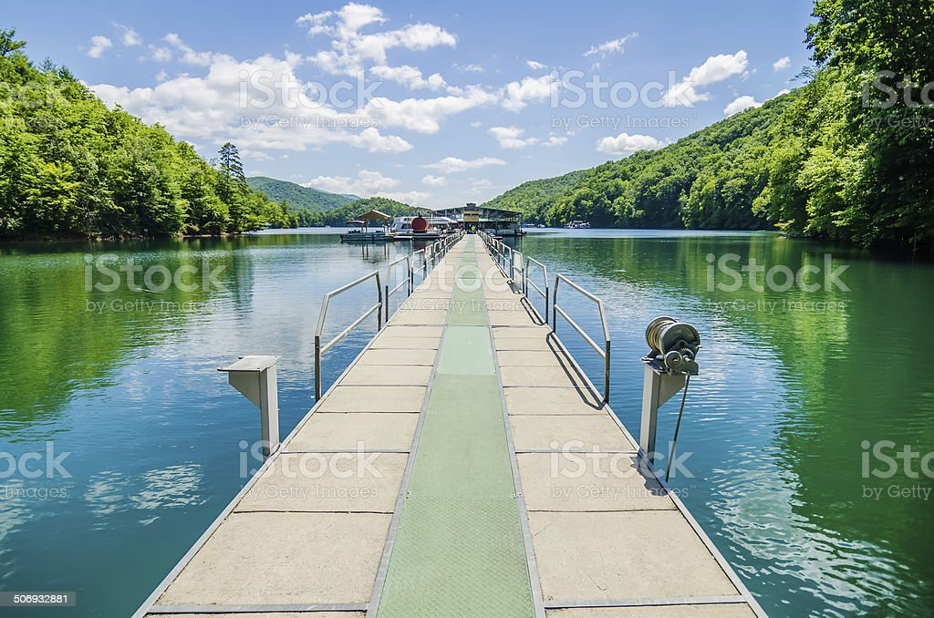 Lake fontana boats and ramp in great smoky mountains nc stock photo