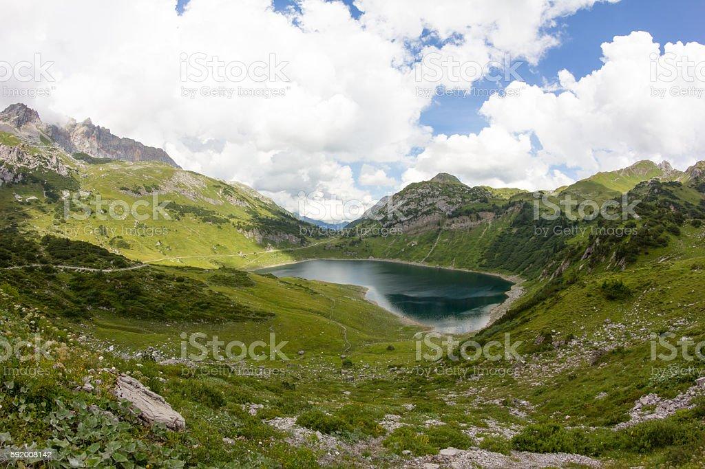 Lake Formarinsee In Vorarlberg Austria stock photo