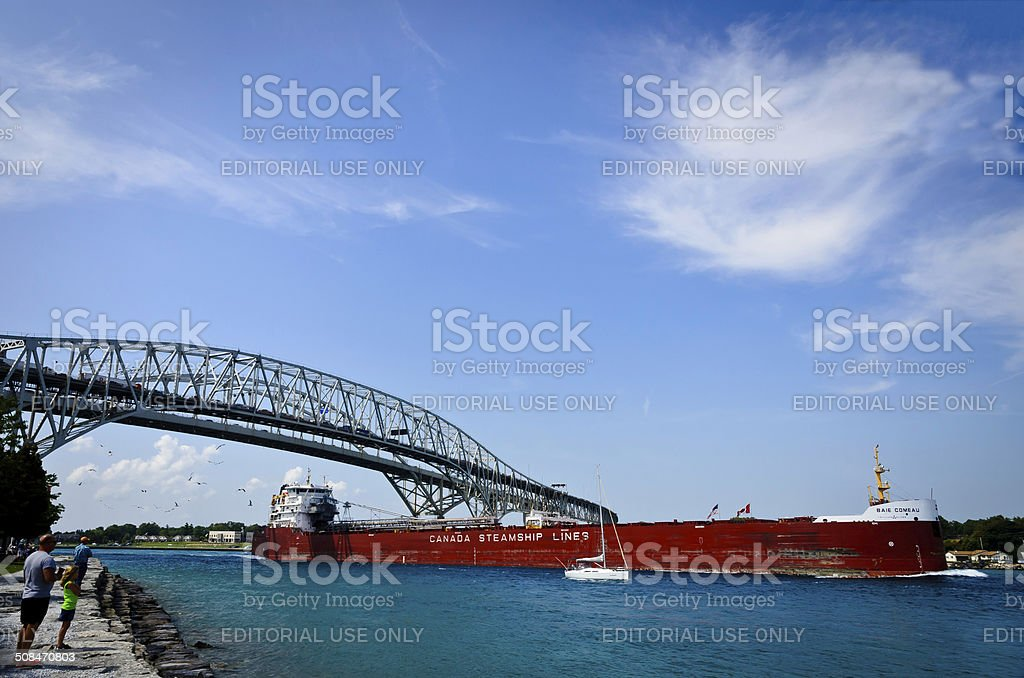 Lake Freighter and Bluewater Bridge royalty-free stock photo