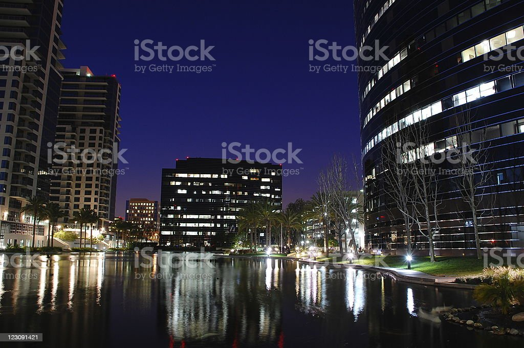 lake front office buildings stock photo