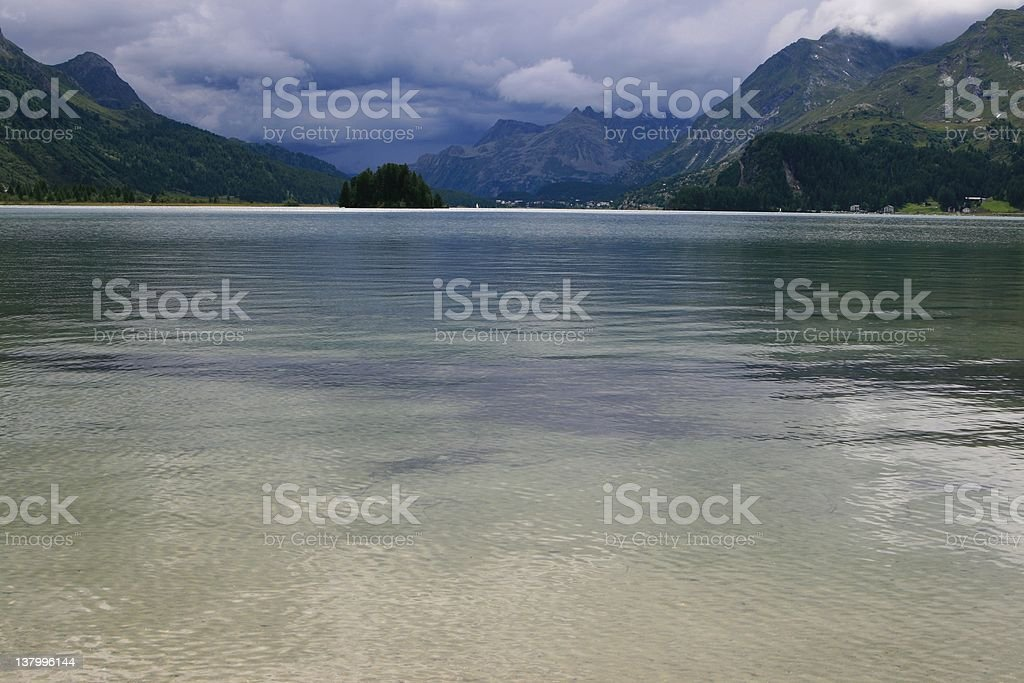 Lake front-view, Sils Area, Switzerland royalty-free stock photo