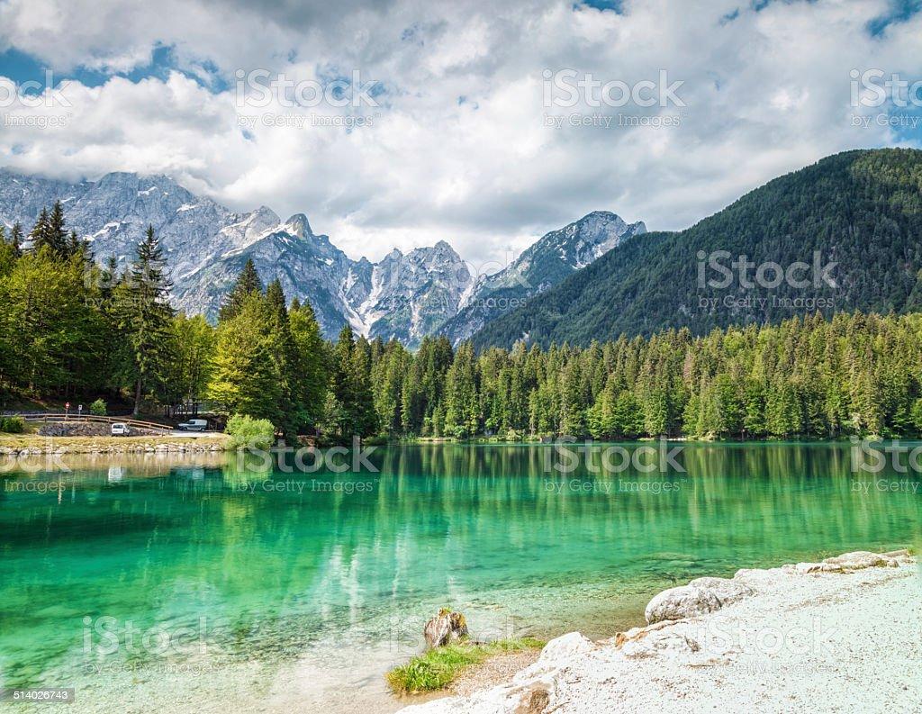 Lake Fusine in the Italian Alps stock photo