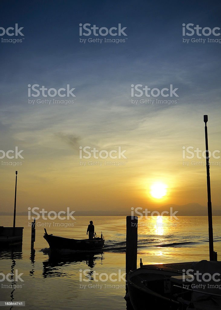 'Lake Garda at dusk, Italy' stock photo