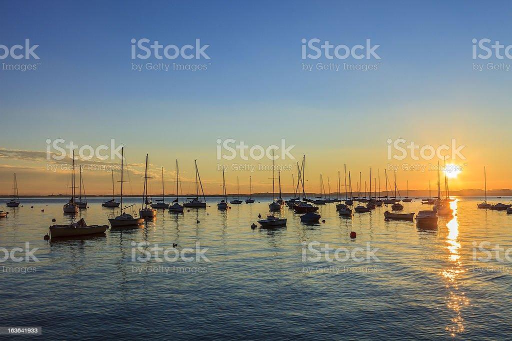 Lake Garda at sunset, Italy royalty-free stock photo