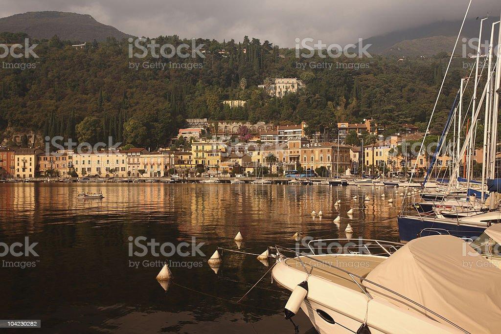 Lake Garda Harbour in Fall royalty-free stock photo