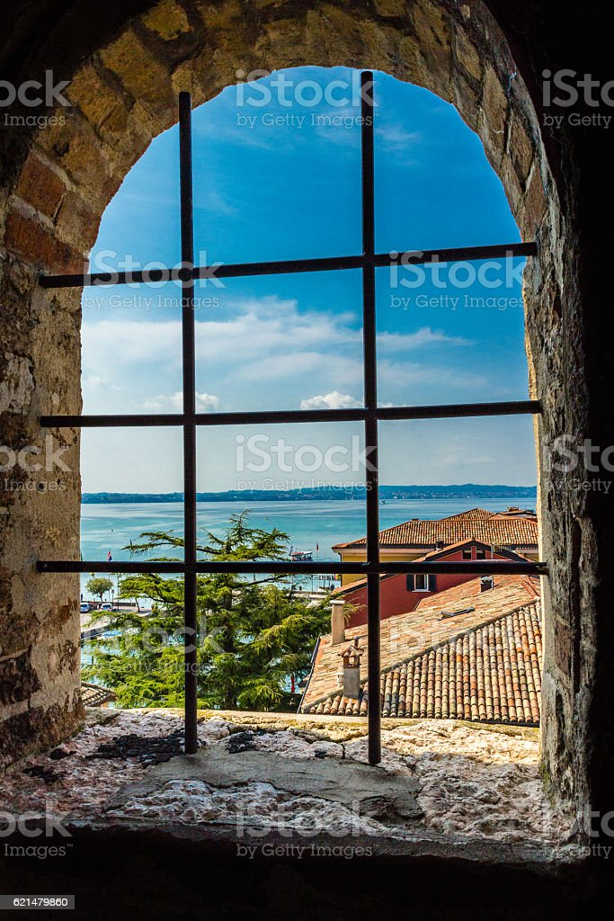 Lake Garda, Italy. View from a castle window stock photo