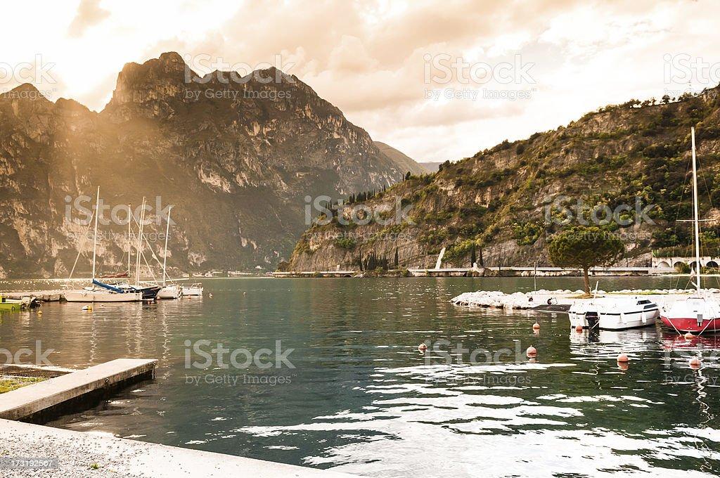 Lake Garda panorama from Torbole beach, Italy stock photo